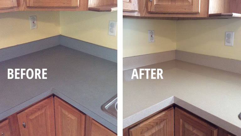 before and after countertop refinishing